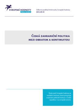 Česká zahrani  ní politika mezi obratem a kontinuitou - Think