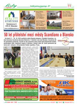 50 let pfiátelství mezi műsty Scandiano a Blansko