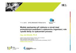 Modely spolupráce při výzkumu a vývoji mezi průmyslovým podnikem a
