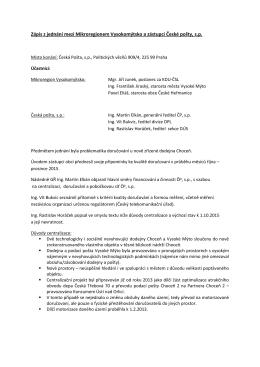 Zápis z jednání mezi Mikroregionem Vysokomýtsko a zástupci
