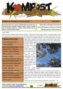 Strakonický měsíčník o ochraně přírody leden 2016 Z obsahu tohoto