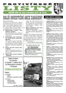 Protivínské listy 04/2015 (PDF, cca 3,4 MB)