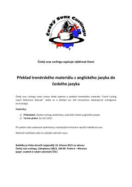 Překlad trenérského materiálu z anglického jazyka do českého jazyka