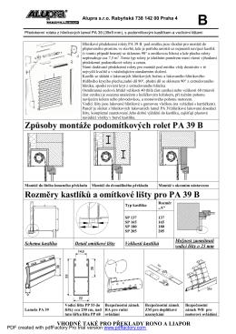 Rolety pro RONO nebo lomený překlad