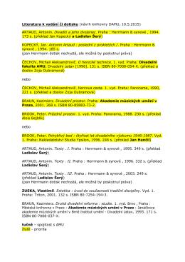 Literatura k vydání či dotisku (návrh knihovny DAMU, 10.5.2015