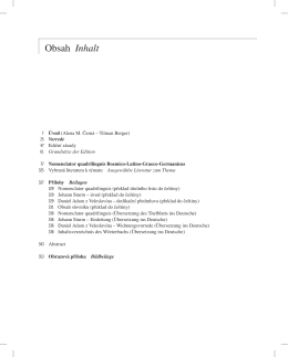 Obsah Inhalt - Nomenclator quadrilinguis