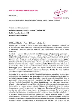 NEWSLETTER TRANSSTAR EUROPA 03/2015 Květen 2015 I v
