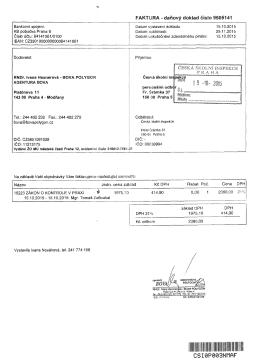 Bankovní spojení: KB pobočka Praha 6 Číslo účíu: 84141061/0100