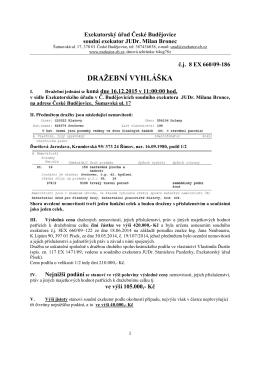 DRAŽEBNÍ VYHLÁŠKA - JUDr. Milan Bronec