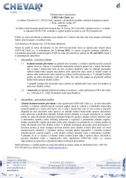 Návrh usnesení ŘVH o výšení základního kapitálu