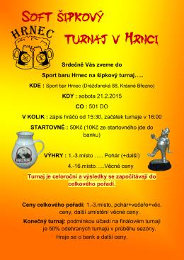 Srdečně Vás zveme do Sport baru Hrnec na šipkový turnaj….. KDY