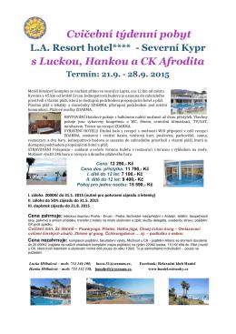 Cvičební týdenní pobyt s Luckou, Hankou a CK Afrodita