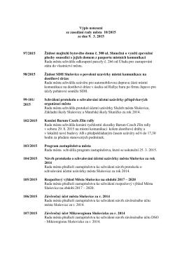 Usnesení rady města ze dne 9. 3. 2015