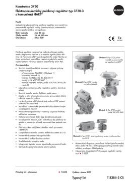Typový list T 8384-3 CS Konstrukce 3730 Elektropneumatický
