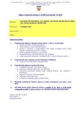 Zápis z výborové schůze č. 16/2015 ze dne 28.12.2015