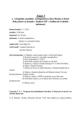 Zápis 3 z 5.3.2015 - Horka u Staré Paky