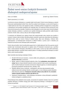 Žádné nové emise českkých firemních dluhopisů