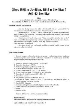 Zápis č. 8 ze zasedání OZ dne 16. 09. 2015