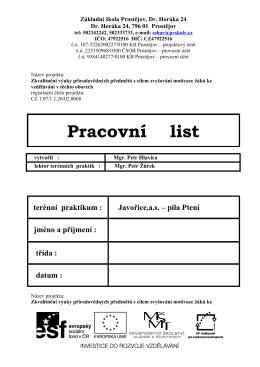 Pracovní list - Pila Ptení 1 - Škola Dr. Horáka, Prostějov