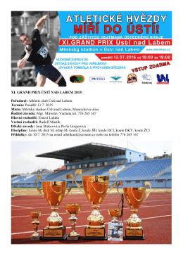 XI. GRAND PRIX ÚSTÍ NAD LABEM 2015 Pořadatel: Athletic club