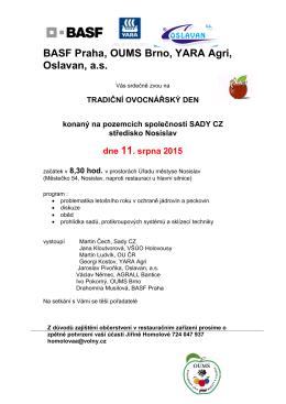 BASF Praha, OUMS Brno, YARA Agri, Oslavan, a.s.