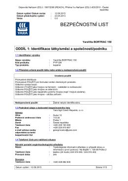 Bezpečnostní list YaraVita Bortrac 150