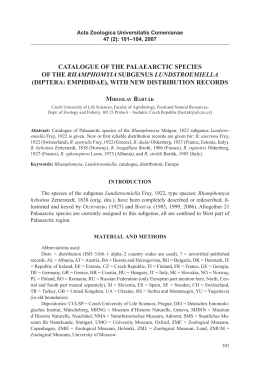 Catalogue of the PalaearCtiC sPeCies of the Rhamphomyia