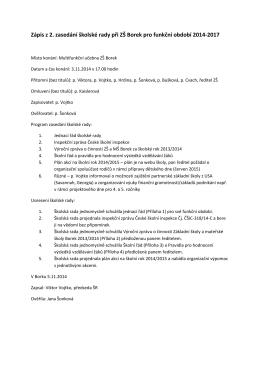 Zápis z 2. zasedání školské rady při ZŠ Borek pro