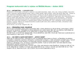 Program kulturních akcí a výstav ve ŠKODA Muzeu – duben 2015