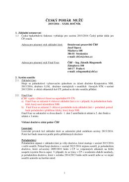 Rozpis Českého poháru mužů - Česká Basketbalová Federace