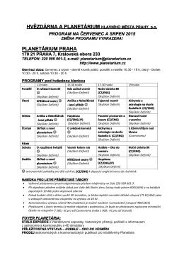Program červenec a srpen 2015