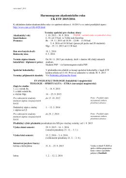 Harmonogram akademického roku 2015/16