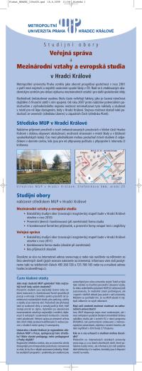 Veřejná správa Mezinárodní vztahy a evropská studia