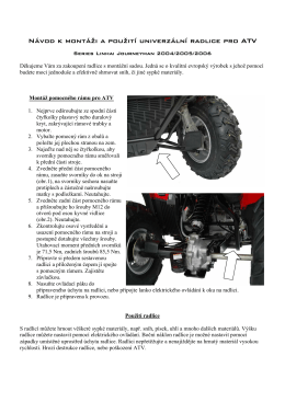 Návod k montáži a použití univerzální radlice pro ATV