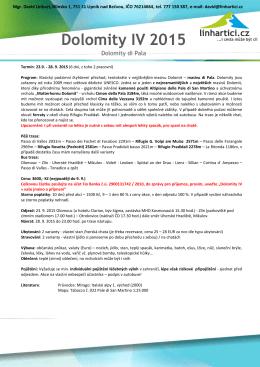 Podrobnejsi rozpis Dolomity IV di Pala