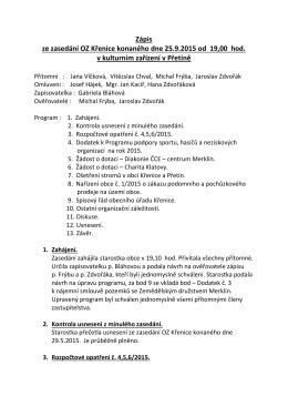 Zápis ze zasedání OZ Křenice konaného dne 25.9.2015 od 19,00