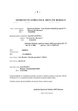 Beroun Střelnice SBTS - provozní řád 2015