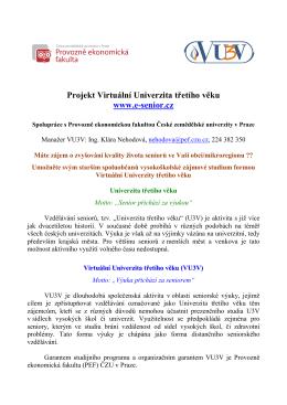 Projekt Virtuální Univerzita třetího věku www.e
