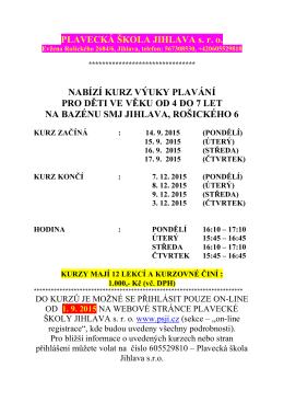 1. 9. 2015 - Plavecká škola Jihlava