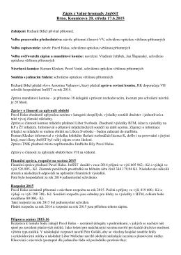 Zápis z jednání valné hromady JmSST 17.6.2015