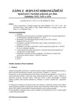 Zápis ze shromáždění 24. 3. 2015 - Společenství vlastníků jednotek