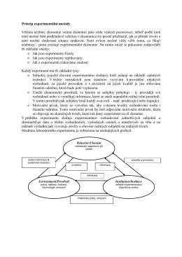 Princip experimentální metody Většina učebnic ekonomie
