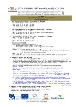 Přehled informací ZŠ TGM Třebíč pro školní rok 2015/2016