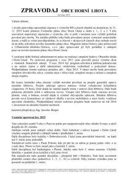 Zpravodaj obce Horní Lhota