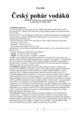 Český pohár vodáků - pravidla 2015