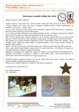 Informace k soutěži Coffee Star 2016