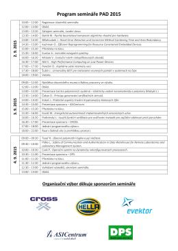Program semináře PAD 2015