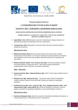 Program konference Vysokoškolské studium bez bariér 2012