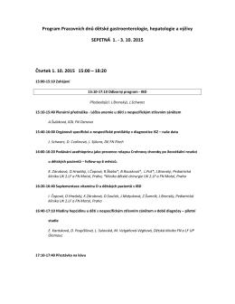 Program Pracovních dnů dětské gastroenterologie, hepatologie a
