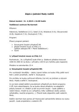 Zápis z jednání dne 21.4. 2015
